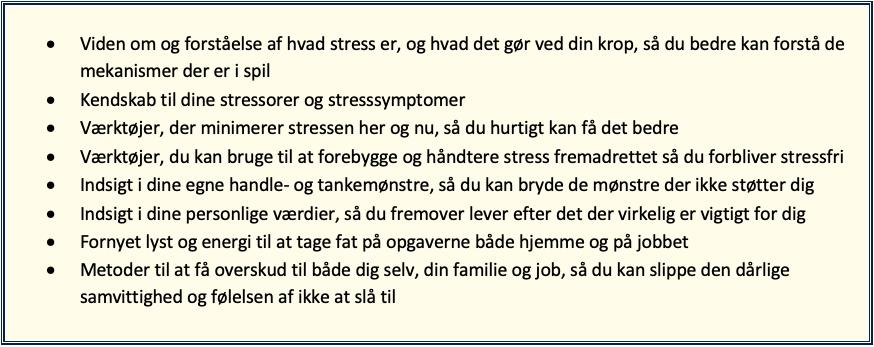 Udbytte af stressforløb